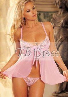 Pink Spandex Babydoll With G-string YH-AF6079