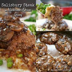 Salisbury Steak in Mushroom Onion Gravy - Great Grub, Delicious Treats Easy Steak Recipes, Dinner Recipes Easy Quick, Ground Beef Recipes, Meat Recipes, Cooking Recipes, Hamburger Recipes, Recipes Dinner, Potato Recipes, Recipies
