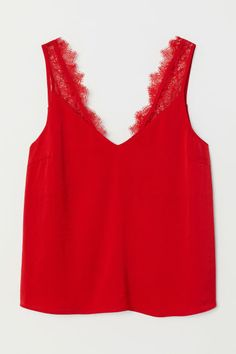 Shop online for affordable women's tops at H&M, from tanks, t-shirts and camis to dressy going-out tops. Red Top Outfit, Red Lace Top, Lace Tops, Going Out Outfits, Cute Outfits, Party Wear For Women, Fall Skirts, Summer Outfits Women, Ladies Dress Design