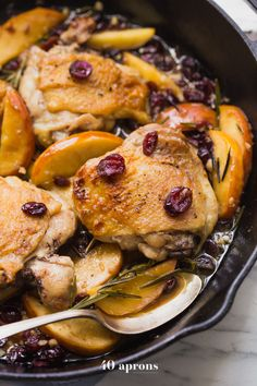 These paleo cranberry apple chicken thighs with rosemary are such a delicious paleo fall recipe. An easy, quick paleo dinner elegant enough for company.