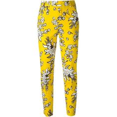 Red Valentino Cropped Floral Print Trousers ($314) ❤ liked on Polyvore featuring pants, capris, bottoms, jeans, trousers, calças, yellow pants, floral crop pants, cropped capri pants e floral printed pants