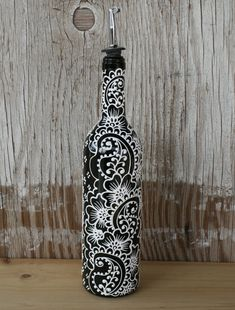 Hand Painted Wine bottle Olive Oil Pourer, Jet Black and Bright white accents, Olive Oil Dispenser