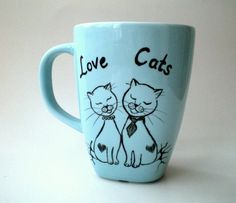 Hand Paint Love Cats Blue Mug  gift for cat lovers by ShebboDesign, $24.00