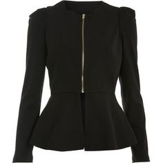 Miss Selfridge Black Plain Peplum Jacket - LoLoBu