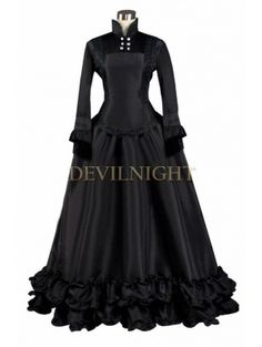 Black Long Sleeves Gothic Victorian Dress