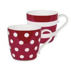Konitz Dots and Stripes Set of 2 Bone China Mugs-JCPenney, Color: Turquoise Hot Coffee, Coffee Cups, Tea Cups, Bowls, Mugs And Jugs, Red Mug, Couple Mugs, Porcelain Mugs, China Mugs
