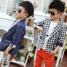 Kids Toddlers Boys Fashion Plaid Check Dots Casual Suit Jacket Coat Costume