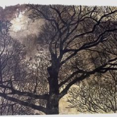 Chine colle of ink painted paper with woodcut tree print
