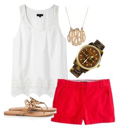 """""""Summer Time"""" by emma-jo4 ❤ liked on Polyvore featuring rag & bone, J.Crew, Tory Burch, Michael Kors and BaubleBar"""