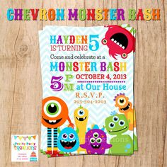 CHEVRON MONSTER BASH You Print by PrettyPartyCreations on Etsy, $11.50