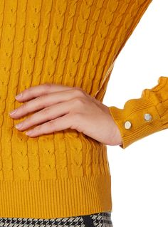 81270ffd089db9 Womens Gok Yellow Cable Knit Jumper