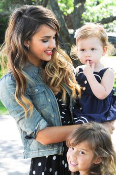 Jessica Alba and her beautiful daughters Honor and Heaven at Ralph Lauren