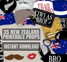 35 New Zealand Photo Booth Props, Kiwi themed party props, i love new zealand party, kiwi photobooth sign, kiwi flag, new zealand props by YouGrewPrintables on Etsy