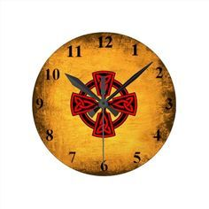 antique background red celtic cross wall clock antique background ...