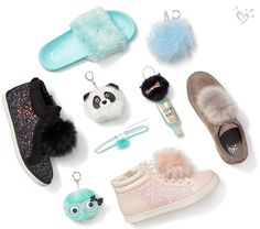 Detail love: pom-poms and puffs. Kid Shoes, Cute Shoes, Girls Shoes, Me Too Shoes, Justice Shoes, Justice Clothing, Jojo Siwa Outfits, Girl Outfits, Tween Fashion