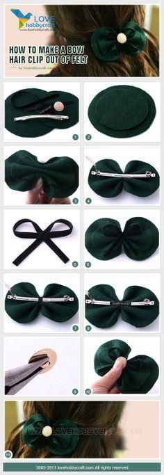 craft tutorials: How to make a bow hair clip out of felt