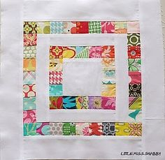 """This would make cute modern bedspreads for the bunk beds in a rectangle.   12"""" scrapbuster block tutorial by Little Miss Shabby. The little squares are 1.5""""."""