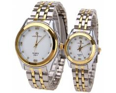 $21.29 LaoGeShi Quartz Watch with Diamond Squares Indicate Steel Watch Band for Couple - White