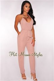 Toffee Faux Wrap Halter Belted Jumpsuit