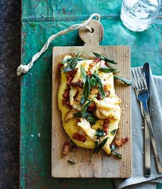 Australian Gourmet Traveller fast recipe for soft polenta with calamari, pancetta and sage. Cooking Calamari, Calamari Recipes, Seafood Recipes, Gourmet Recipes, Sage Recipes, Polenta Recipes, Panchetta Recipes, Grilled Prawns, Healthy Weeknight Meals
