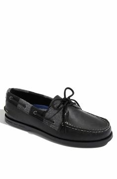 Black Boat Shoe w/Grey Detail