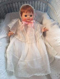 Vintage RARE 1965 #9500 Effanbee Red Hair Vinyl Cloth Baby Doll Original Outfit #Effanbee #DollswithClothingAccessories
