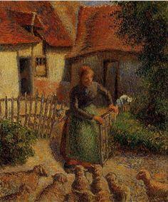 Shepherdess Bringing in Sheep via Camille Pissarro