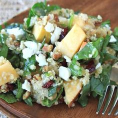 Apple, Pecan, & Goat Cheese Quinoa Salad Recipe - Cooking Quinoa Delicious and easy recipe that keeps in the fridge for several days.
