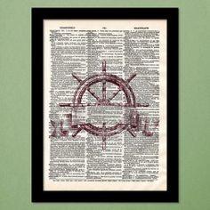 Ancient Ship Wheel Dictionary Art Print