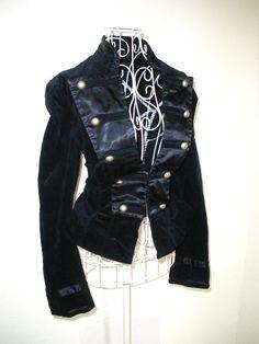 Vintage Blue satin VELVET russian renaissance Edwardian Gothic Military jacket Victorian Steampunk coat