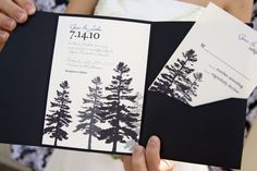 the sharp white invite against a bold dark coloured envelope looks Sharp! sparkly white invitation with trees and writing in Navy. Winter Wedding Invitations, Diy Invitations, Invitation Design, Wedding Stationery, Invitation Ideas, Invites, Woodsy Wedding, Diy Wedding, Dream Wedding