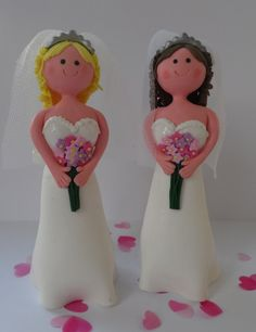 Same Sex Wedding Cake Topper  2 x Brides with by BakeandDecorate