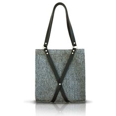 Felt Bag With Leather Handle - FOX BLACK BAG