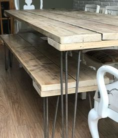 Reclaimed Scaffold Board dining table & bench - Unique custom handmade furniture built with love & backbone locally in Surrey. If you've got a project in mind, that dream item that you simply can't find anywhere else or don't want to re-mortgage your house for, I'll work with you every step of the way – from concept to commission, right through to creation – to make it a reality. No job too small, as they say. www.nottyreclaimed.co.uk