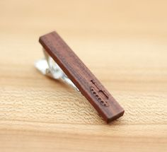Wooden Accessories Company Wooden Tie Clips with Laser Engraved Waxing Quarter Moon Design Cherry Wood Tie Bar Engraved in The USA