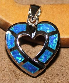 dark blue fire opal necklace pendant gems silver jewelry elegant heart design  #Pendant