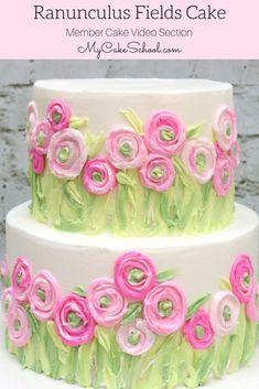 Ranunculus Fields Cake- Painting with Buttercream Cake Decorating Video Tutorial by MyCakeSchool.com