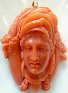ANTIQUE MASSIVE 15K GOLD CARVED CORAL CAMEO DEMETER PENDANT  WONDERFUL HEIRLOOM! Circa 1800s