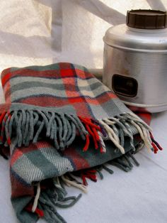 Vintage Green Gray and Red Plaid Wool Blanket  Troy by tessiemay, $55.00