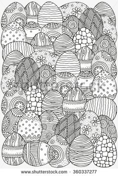 Pattern for coloring book. A4 size. Easter hand-drawn decorative elements in vector. Easter eggs. Black and white pattern.  Made by trace from sketch. Zentangle