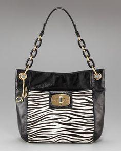 Milly  Penelope Zebra-Print Calf Hair Bag