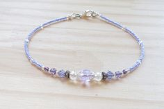 Anklet Ankle Bracelet Lilac Crystal Anklet Beach Anklet Ankle Bracelets, Beaded Bracelets, Handmade Friendship Bracelets, Beach Anklets, Jewelry Ideas, Unique Jewelry, Inspirational Jewelry, Beading Jewelry, Seed Beads
