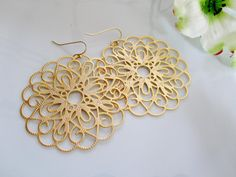 Gold Loop Earrings  Extra Large Round Loop by Redpeonycreations, $21.00