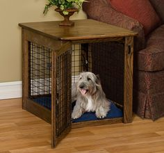 Amish Made Wire Dog Crate End Table