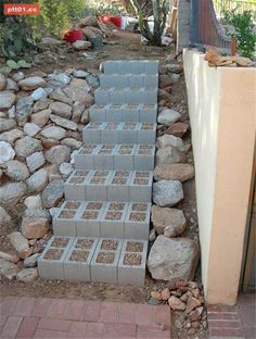 garden stairs steps Fill cinder blocks with a creeping ground cover like thyme which smells so good when walked on. Garden Paths, Lawn And Garden, Garden Landscaping, Home And Garden, Herb Garden, Landscaping Ideas, Inexpensive Landscaping, Walkway Ideas, Succulent Landscaping