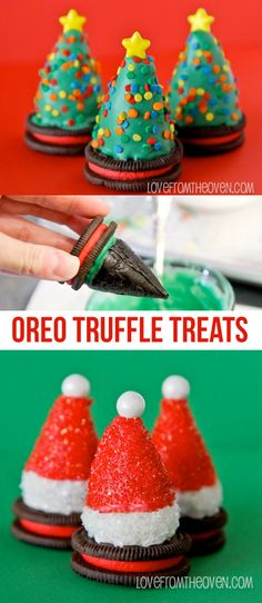 Oreo Truffle Treats.  Super cute Oreo Truffles on top of Oreos made to look like Christmas trees and Santa hats.