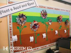 Bulletin Boards Plant a Seed and Read flower bulletin board Flower Bulletin Boards, Colorful Bulletin Boards, Classroom Bulletin Boards, Classroom Decor, Classroom Design, Future Classroom, Classroom Organization, Homemade Books, Library Inspiration
