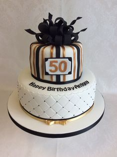 Inspiration Image of Birthday Cake For Man . Birthday Cake For Man Parcel Style Top Tier For This 2 Tier Black And Gold Themed Birthday Black And Gold Birthday Cake, Green Birthday Cakes, 50th Birthday Cakes For Men, 2 Tier Birthday Cakes, Black And Gold Cake, 50th Cake, Female Birthday Cakes, 50 Birthday, Bolo Cake