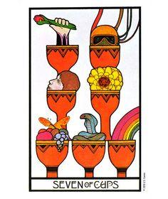 Aquarian Tarot: 7 of cups. Creative manifestation card.