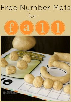 Free Fall Play Dough Number Mats for 1 to 10. So much fun to use with pumpkin play dough!